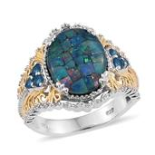 Australian Mosaic Opal, Malgache Neon Apatite 14K YG and Platinum Over Sterling Silver Ring (Size 6.0) TGW 6.300 cts.