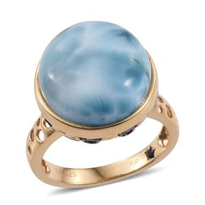 GP Larimar, Tanzanite 14K YG Over Sterling Silver Pierced Solitaire Ring (Size 9.0) TGW 17.470 cts.