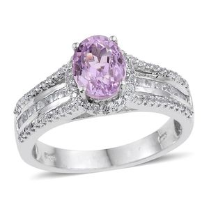 Kunzite, White Topaz Platinum Over Sterling Silver Bridge Ring (Size 7.0) TGW 3.15 cts.