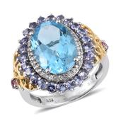 Swiss Blue Topaz, Tanzanite, Madagascar Pink Sapphire 14K YG and Platinum Over Sterling Silver Ring (Size 6.0) TGW 9.160 cts.