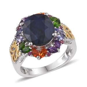 Madagascar Blue Sapphire, Multi Gemstone, Diamond Accent 14K YG and Platinum Over Sterling Silver Ring (Size 8.0)  0 TGW 9.59 cts.