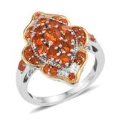 Jalisco Fire Opal 14K YG and Platinum Over Sterling Silver Ring (Size 7.0) TGW 1.510 cts.