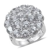 J Francis - Platinum Over Sterling Silver Ring Made with SWAROVSKI ZIRCONIA (Size 7.0) TGW 17.26 cts.