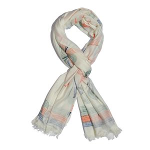 J Francis - Blue, Orange and Green Floral and Striped Hand Painted 100% Modal Scarf (72x28 in)