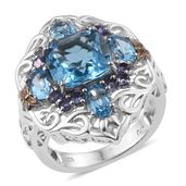 Swiss Blue Topaz, Tanzanite 14K YG and Platinum Over Sterling Silver Ring (Size 7.0) TGW 8.040 cts.