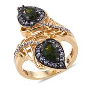 Stefy Russian Diopside, Madagascar Pink Sapphire, Tanzanite 14K YG Over Sterling Silver Openwork Paisley Ring (Size 5.0) TGW 2.496 cts.