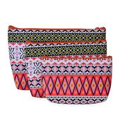 Set of 3 Multi Color Geometric Pattern Cosmetic Bags (11x8 in)