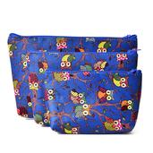 Set of 3 Blue Multi Color Owl Pattern Cosmetic Bags (11x8 in)