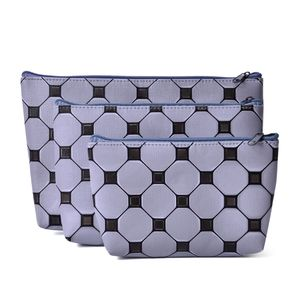 Gray Checker Print Set of 3 Cosmetic Bags (11x7 in)
