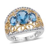 Swiss Blue Topaz, White Topaz 14K YG and Platinum Over Sterling Silver Openwork Trilogy Ring (Size 8.0) TGW 3.600 cts.
