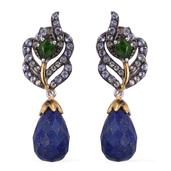 Stefy Lapis Lazuli, Multi Gemstone 14K YG and Platinum Over Sterling Silver Drop Earrings TGW 13.49 Cts.