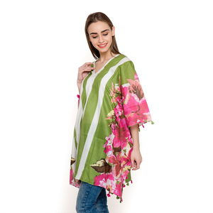 V-Neck Rose Pink Floral Pattern 100% Cotton Green Striped Poncho with Tassels (Free Size)