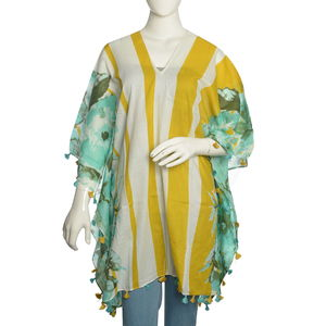 V-Neck Green Floral Pattern 100% Cotton Gold Striped Poncho with Tassels (Free Size)