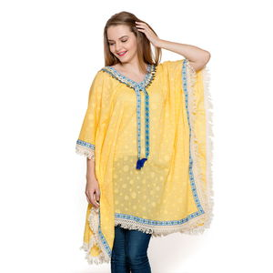 Yellow Dobby Print 100% Cotton Shell and Coin V-Neck Poncho with Lace & Fringes