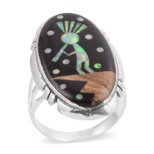 Santa Fe Style Black Onyx, Lab Created Opal, Picture Jasper Sterling Silver Elongated Indian Kokopelli Ring (Size 6.0) TGW 29.350 cts.