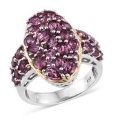 Orissa Rhodolite Garnet 14K YG and Platinum Over Sterling Silver Ring (Size 6.0) TGW 4.82 cts.
