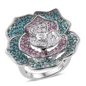 J Francis - Platinum Over Sterling Silver Floral Ring Made with Multi Color SWAROVSKI ZIRCONIA (Size 7.0) TGW 6.820 cts.