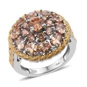 KARIS Collection - Simulated Champagne Diamond ION Plated 18K YG and Platinum Bond Brass Ring (Size 6.0) TGW 8.250 cts.