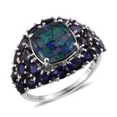 Australian Mosaic Opal, Catalina Iolite Platinum Over Sterling Silver Ring (Size 8.0) TGW 6.650 cts.