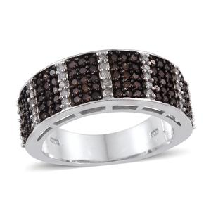 Diamond, Red Diamond (IR) Platinum Over Sterling Silver Ring (Size 7.0) TDiaWt 1.01 cts, TGW 1.01 cts.