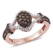 Red Diamond (IR), Diamond 14K RG Over Sterling Silver Split Ring (Size 8.0) TDiaWt 0.76 cts, TGW 0.760 cts.
