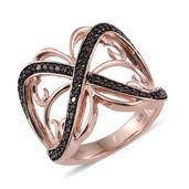 Red Diamond (IR) 14K RG Over Sterling Silver Openwork Criss Cross Ring (Size 9.0) TDiaWt 0.50 cts, TGW 0.500 cts.