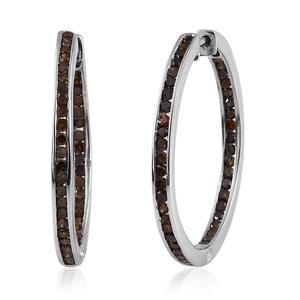 Red Diamond (IR) Platinum Over Sterling Silver Hoop Earrings TDiaWt 1.00 cts, TGW 1.00 cts.