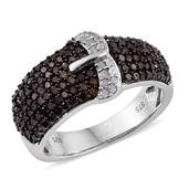 Red Diamond (IR), Diamond Platinum Over Sterling Silver Buckle Ring (Size 7.0) TDiaWt 1.00 cts, TGW 1.00 cts.