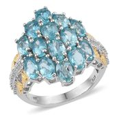 Madagascar Paraiba Apatite 14K YG and Platinum Over Sterling Silver Ring (Size 7.0) TGW 6.750 cts.