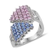 J Francis - Platinum Over Sterling Silver Bypass Ring Made with Multi Color SWAROVSKI ZIRCONIA (Size 9.0) TGW 4.00 cts.