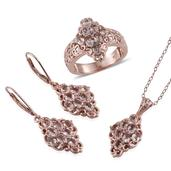 Marropino Morganite, Madagascar Pink Sapphire 14K RG Over Sterling Silver Lever Back Earrings, Ring (Size 8) and Pendant With Chain (20 in) TGW 5.080 cts.