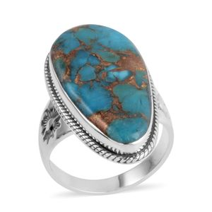 Santa Fe Style Mojave Turquoise Sterling Silver Ring (Size 7.0) TGW 2.250 cts.
