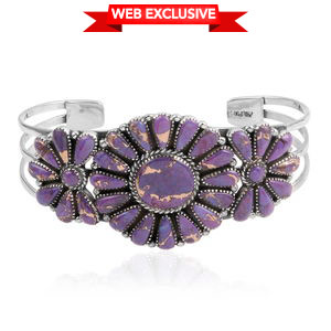 Santa Fe Style Mojave Purple Turquoise Sterling Silver Cuff (7 in) TGW 20.000 Cts.