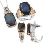 Malagasy Labradorite, Tanzanite 14K YG and Platinum Over Sterling Silver J-Hoop Earrings, Ring (Size 7) and Pendant With Chain (20 in) TGW 47.400 cts.