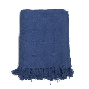 Navy Blue 100% Cotton Geometrical Throw with Fringe (50x60 in)