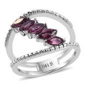 Orissa Rhodolite Garnet Stainless Steel 5 Stone Double Band Ring (Size 8.0) TGW 1.460 cts.