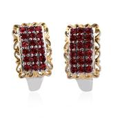 KARIS Collection - ION Plated 18K YG and Platinum Bond Brass J-Hoop Earrings Made with SWAROVSKI Red Crystal TGW 1.100 cts.