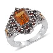 Santa Ana Madeira Citrine, Mozambique Garnet, Thai Black Spinel Platinum Over Sterling Silver Engraved Ring (Size 8.0) TGW 2.840 cts.