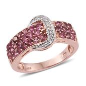 Morro Redondo Pink Tourmaline, White Zircon 14K RG Over Sterling Silver Buckle Ring (Size 9.0) TGW 1.68 cts.