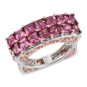 Pink Tourmaline 14K RG and Platinum Over Sterling Silver Ring (Size 10.0) TGW 4.750 cts.