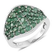 Kagem Zambian Emerald Platinum Over Sterling Silver Cluster Concave Ring (Size 6.0) TGW 2.79 cts.