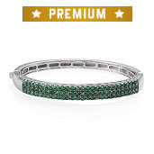 Kagem Zambian Emerald Platinum Over Sterling Silver Bangle (7.50 in) TGW 5.65 cts.