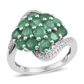 Kagem Zambian Emerald, White Zircon Platinum Over Sterling Silver Cluster Bypass Ring (Size 7.0) TGW 3.800 cts.