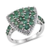 Kagem Zambian Emerald, White Topaz Platinum Over Sterling Silver Ring (Size 6.0) TGW 2.36 cts.