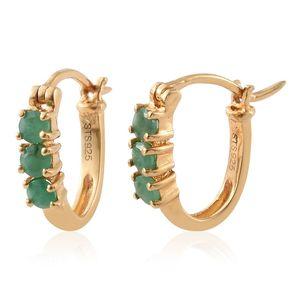 Kagem Zambian Emerald 14K YG Over Sterling Silver Hoop Earrings TGW 0.66 cts.