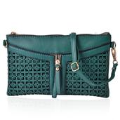 J Francis - Openwork Forest Green Faux Leather Crossbody Clutch (9x5.5 in)