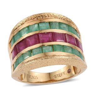 Stefy Niassa Ruby, Kagem Zambian Emerald, Madagascar Pink Sapphire 14K YG Over Sterling Silver Ring (Size 8.0) TGW 6.580 cts.