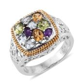 Multi Gemstone ION Plated YG and Stainless Steel Openwork Ring (Size 7.0) TGW 2.540 cts.