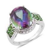 Northern Lights Mystic Topaz, Russian Diopside, White Topaz Sterling Silver Ring (Size 7.0) TGW 12.480 cts.