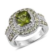 Hebei Peridot, White Topaz Platinum Over Sterling Silver Ring (Size 6.0) TGW 4.100 cts.